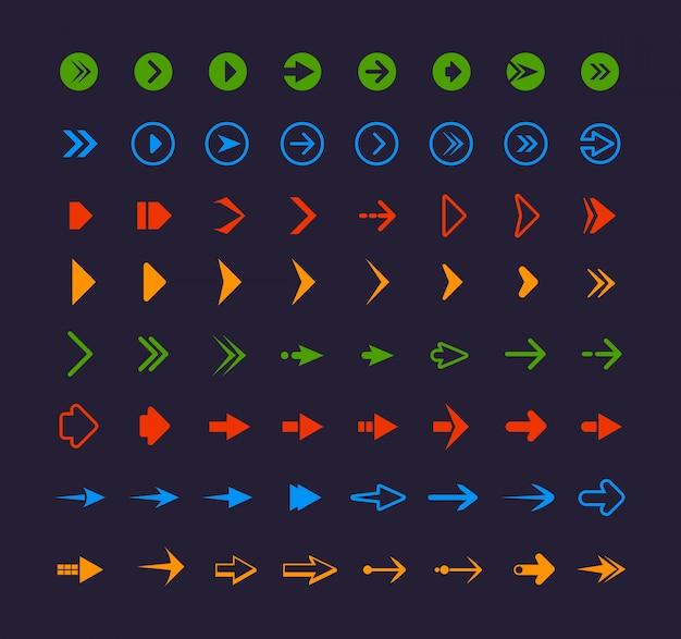 Farbige webpfeile. infografik symbole für website app symbole symbole Premium Vektoren