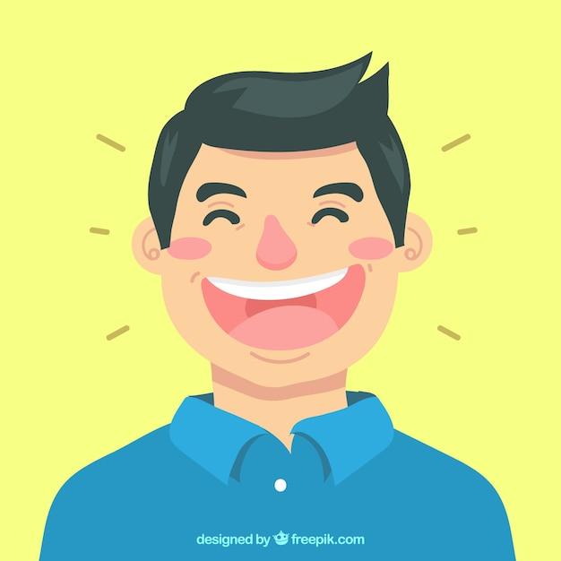 Farbiger hintergrund des mannes lachend Kostenlosen Vektoren