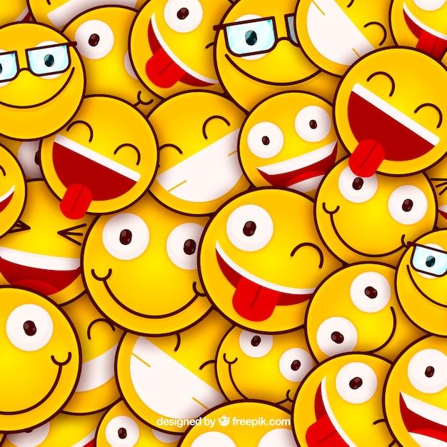 Farbiger hintergrund mit emoticons im flachen design Kostenlosen Vektoren