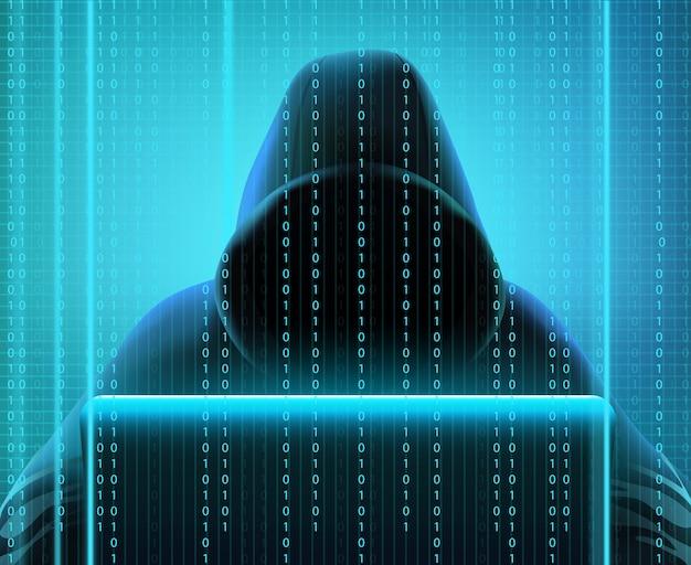 Farbiger realistischer aufbau des hackercodes mit person schafft codes für das zerhacken und diebstahl von informationsvektorillustration Kostenlosen Vektoren