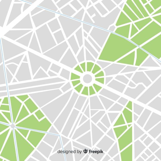 Farbiger stadtplan mit straßen und park Kostenlosen Vektoren