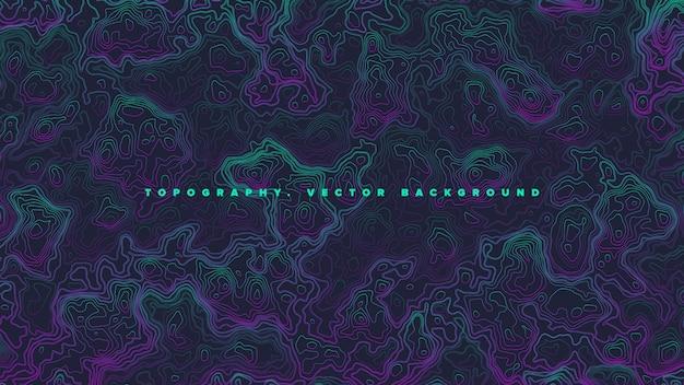 Farbiger topografischer höhenlinien-karten-vaporwave-zusammenfassungs-hintergrund Premium Vektoren