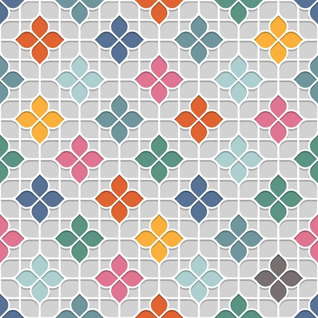 Farbiges empfindliches nahtloses blumenmuster im orientalischen stil Premium Vektoren