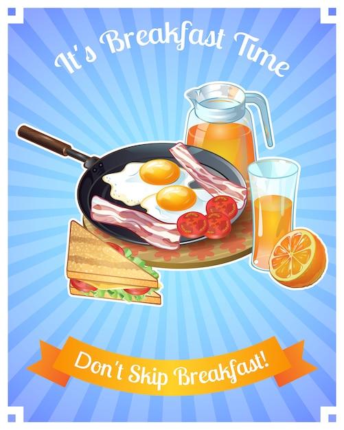 Farbiges frühstücksplakat mit titel es ist frühstückszeit, überspringen sie nicht das frühstück Kostenlosen Vektoren