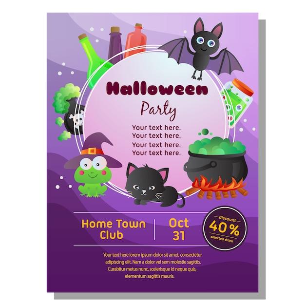 Farbiges halloween-plakat mit karikaturhalloween-zubehör Premium Vektoren