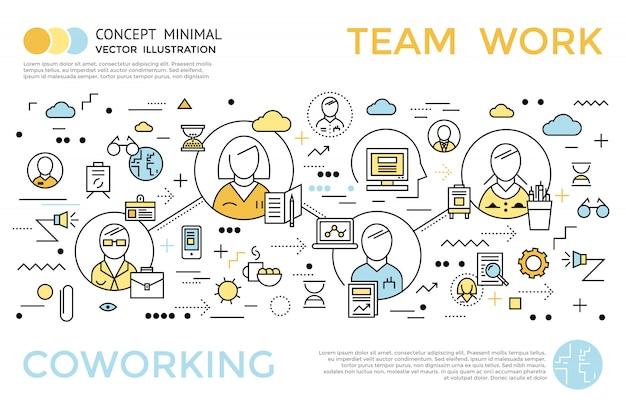 Farbiges horizontales coworking-konzept im linearen stil mit titel und beschreibungen über teamarbeitsvektorillustration Kostenlosen Vektoren