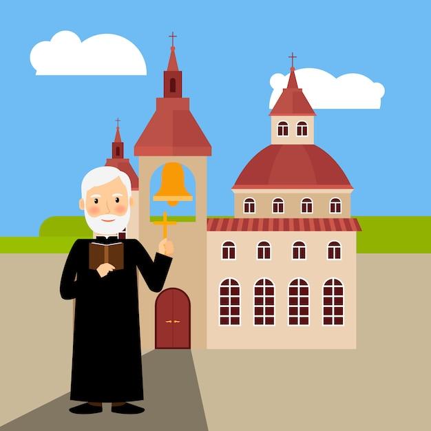 Farbiges kirchengebäude und pastor Premium Vektoren