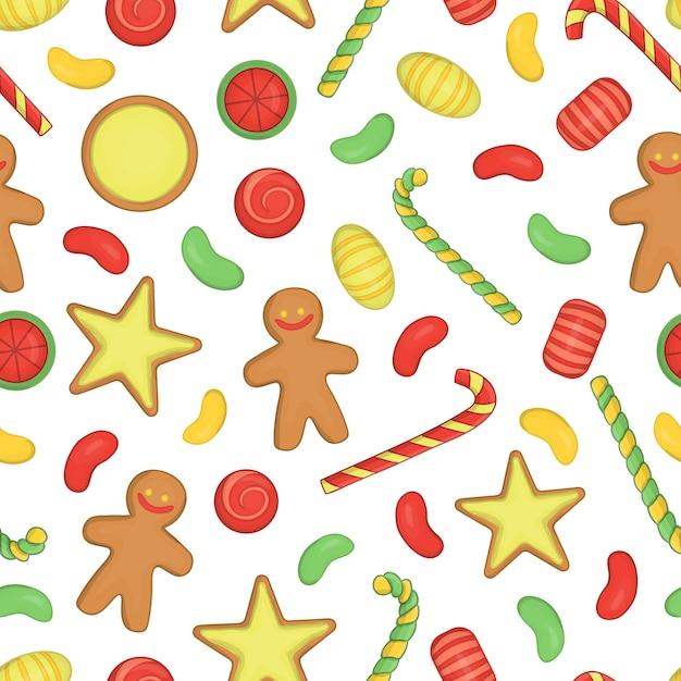 Farbiges nahtloses muster mit weihnachts- oder neujahrselementen auf weißem hintergrund Premium Vektoren