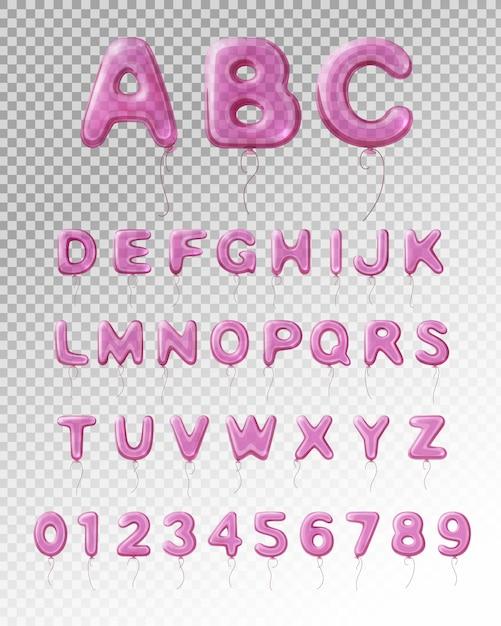 Farbiges und lokalisiertes englisches alphabet des hellpurpurnen realistischen ballons mit transparentem hintergrund Kostenlosen Vektoren