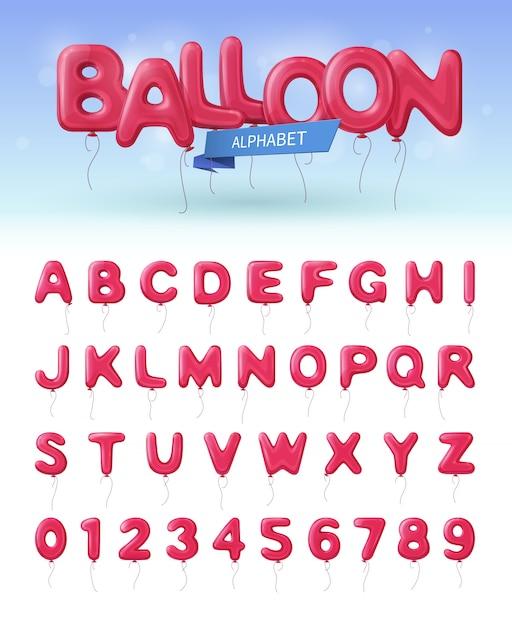 Farbiges und lokalisiertes realistisches symbol des ballonalphabetes stellte mit rosa abc- und zahlballonen ein Kostenlosen Vektoren