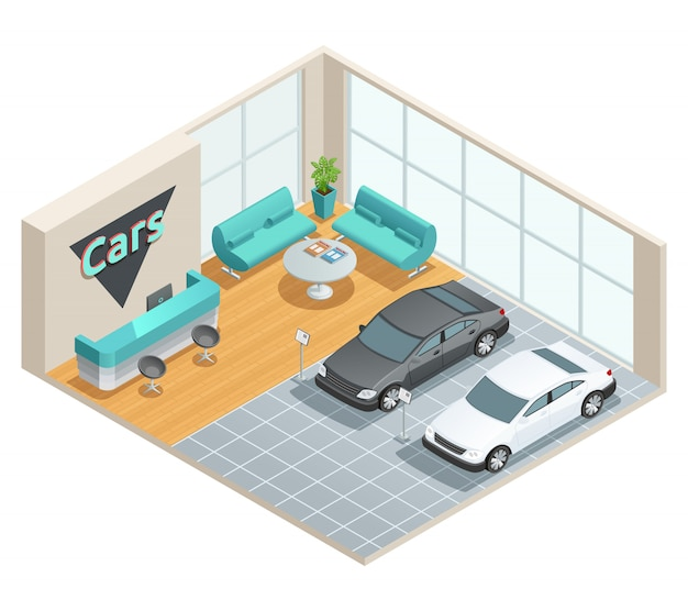 Farbisometrisches design der autohalle mit rezeption Kostenlosen Vektoren