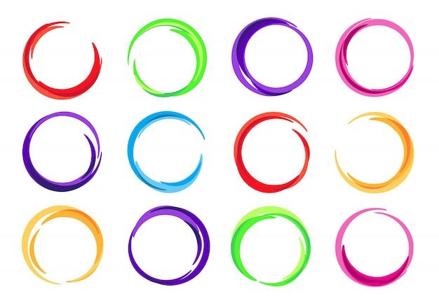 Farbkreise, bunter runder logorahmen, kreisstrudelwelle und klare ovale abstrakte wirbelnde energierahmen eingestellt Premium Vektoren