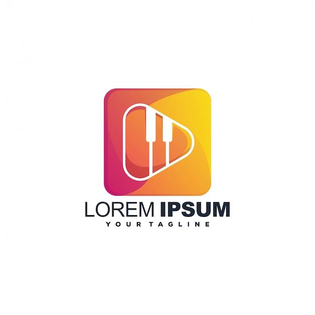 Farblogoschablone der modernen musik Premium Vektoren
