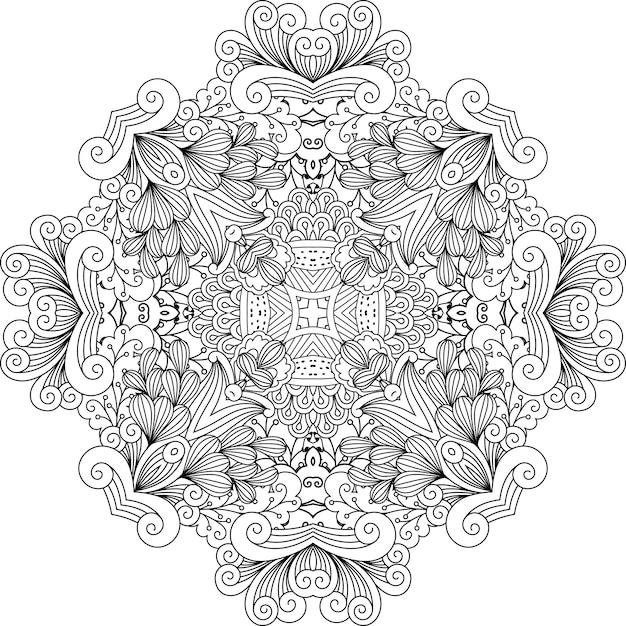 Farblose blumenmuster mit geometrischen elementen Premium Vektoren
