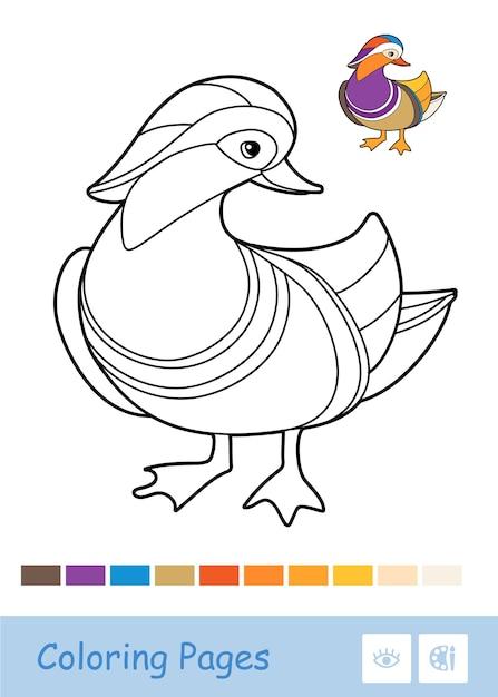 Farblose kontur-entenillustration lokalisiert auf weißem hintergrund. vogelbezogene vorschulkinder malbuchillustrationen und entwicklungsaktivitäten. Premium Vektoren
