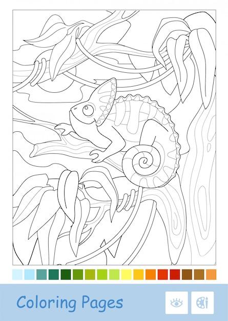 Farbloses, von punkt zu punkt verschleiertes chamäleon, das auf dem ast im regenwald sitzt, lokalisiert auf weißem hintergrund und vorgeschlagene farbpalette unten. Premium Vektoren
