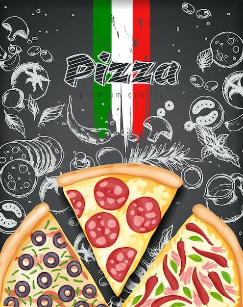 Farbpizzaplakat. pikante pizza anzeigen illustration Premium Vektoren