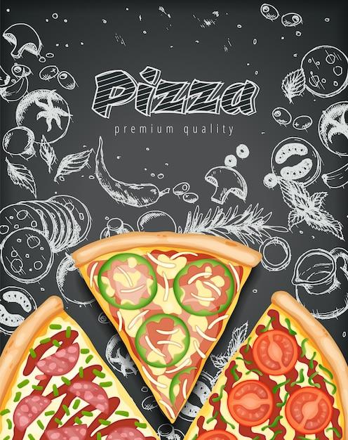 Farbpizzaplakatillustration Premium Vektoren
