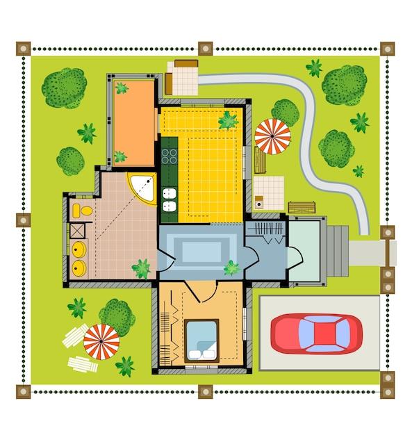 Farbplan-landhaus auf einem weißen hintergrund Premium Vektoren