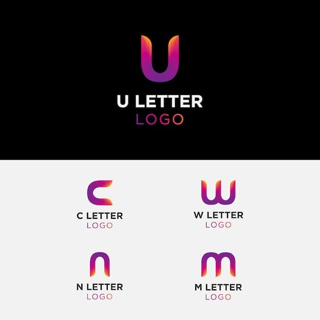 Farbverlauf brief logo sammlung Premium Vektoren