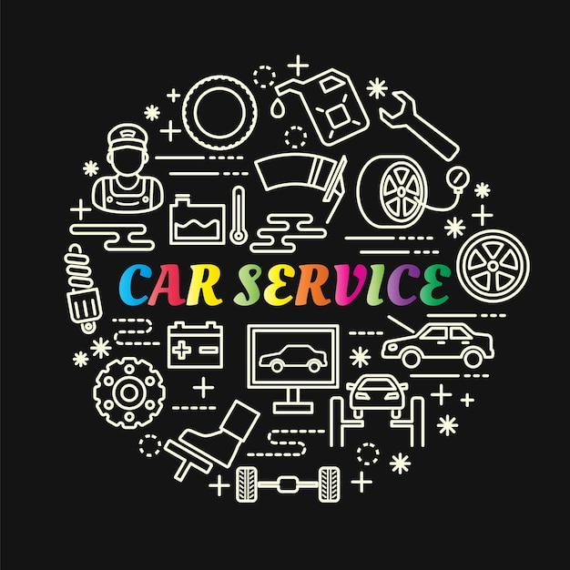 Farbverlauf des autoservices mit der linie ikonen eingestellt Premium Vektoren