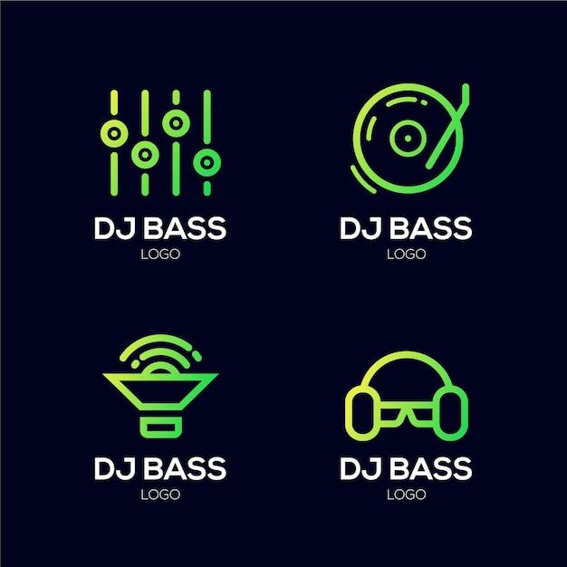 Farbverlauf farbiges dj-logo-set Kostenlosen Vektoren