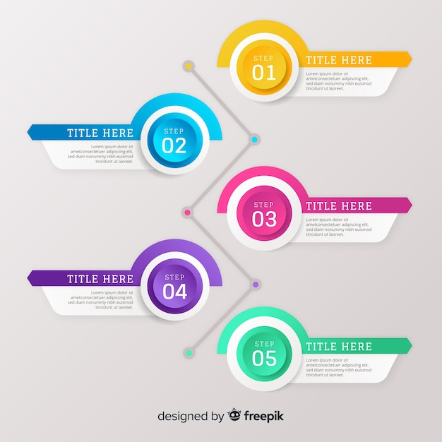 Farbverlauf flache bunte schritt infografiken Kostenlosen Vektoren