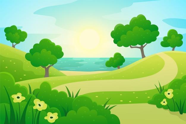 Farbverlauf frühlingslandschaft Premium Vektoren