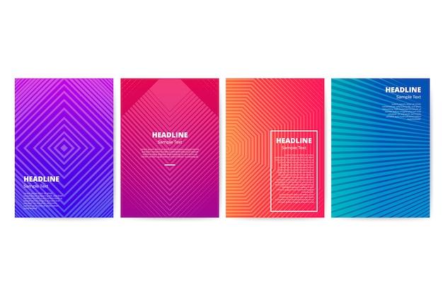 Farbverlauf geometrische flyer vorlagensatz Kostenlosen Vektoren