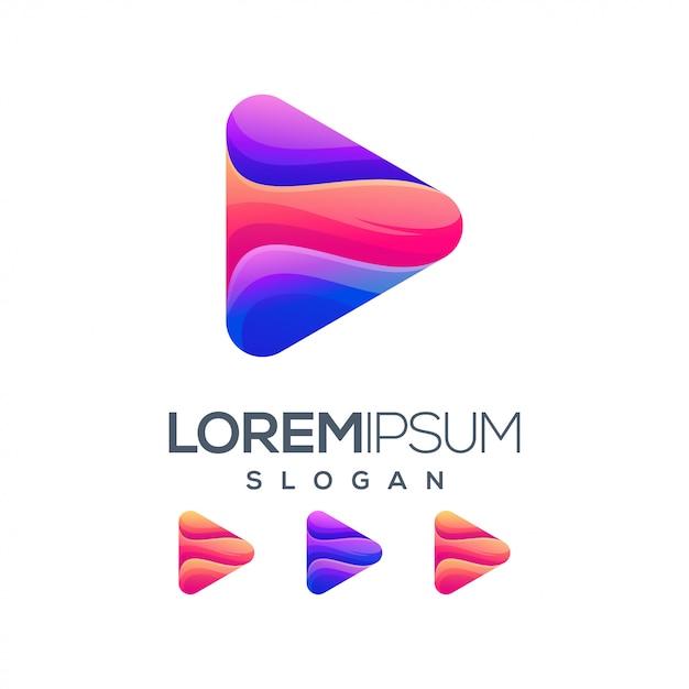 Farbverlauf logo-design zu spielen Premium Vektoren