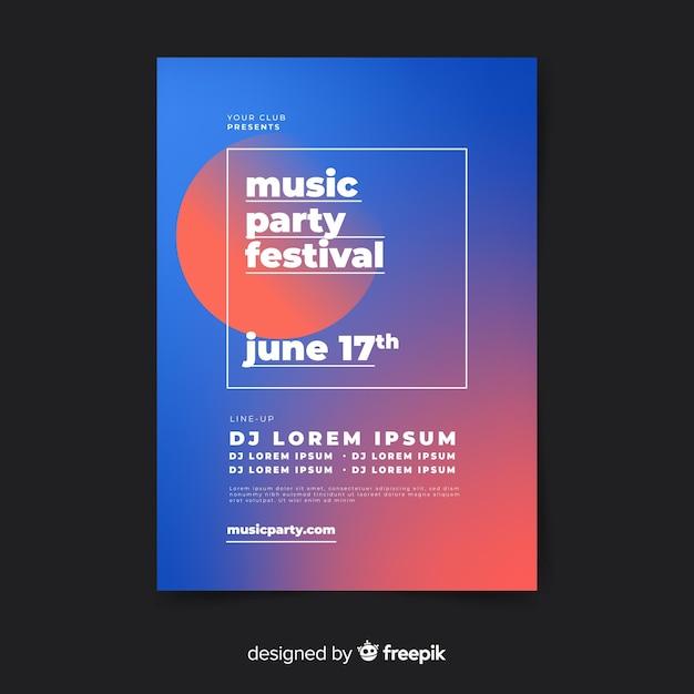 Farbverlauf musik festival poster vorlage Kostenlosen Vektoren