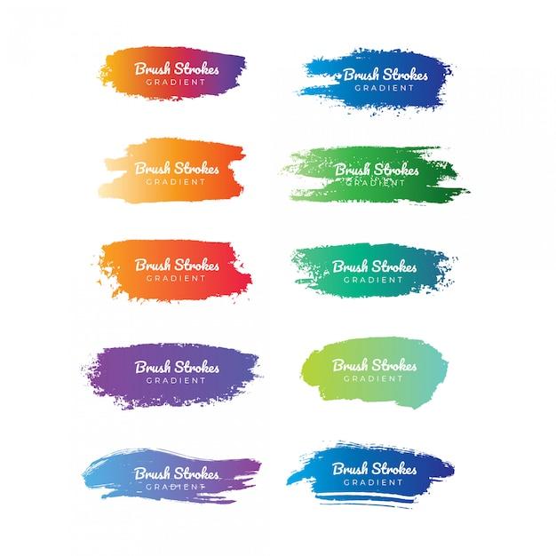 Farbverlauf pinselstrich sammlung Premium Vektoren