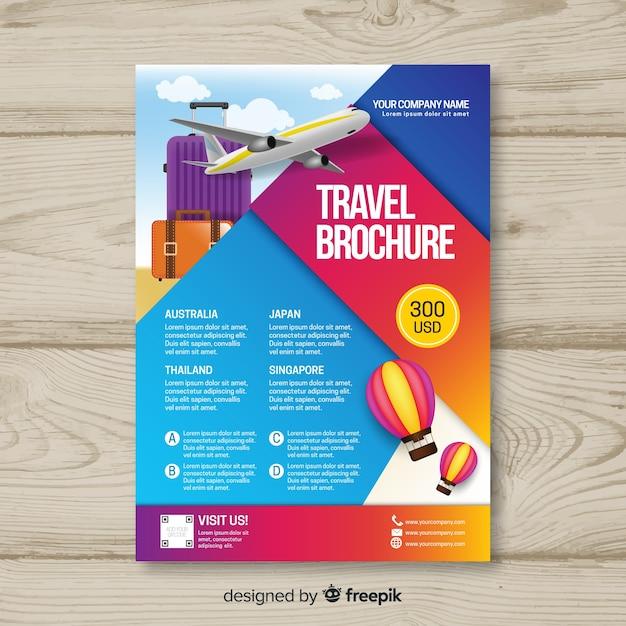 Farbverlauf reise flyer vorlage Kostenlosen Vektoren