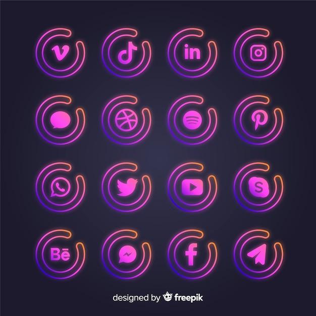 Farbverlauf social media logo-auflistung Kostenlosen Vektoren