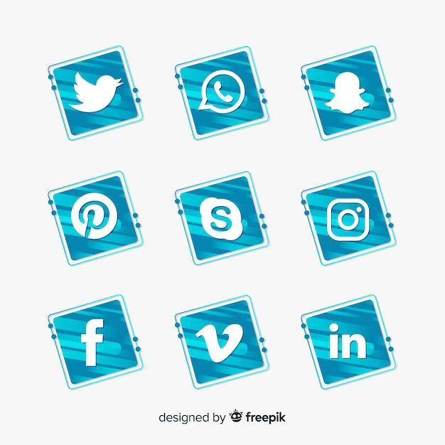 Farbverlauf social-media-logo-pack Kostenlosen Vektoren