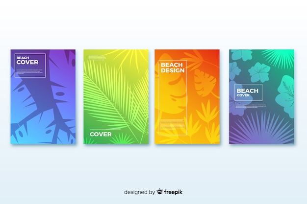 Farbverlauf strand decken sammlung Kostenlosen Vektoren