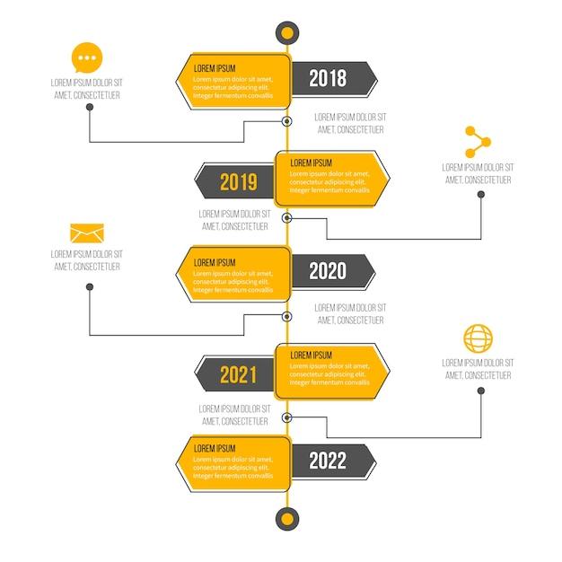 Farbverlauf timeline professionelle infografik Kostenlosen Vektoren