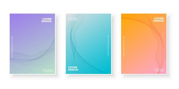 Farbverlaufsdeckblätter mit kurvigem muster Kostenlosen Vektoren