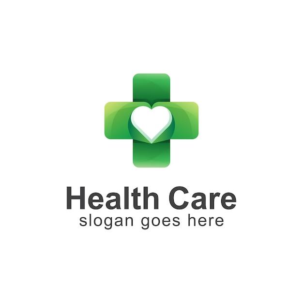 Farbverlaufslogo von health care kombiniert kreuz und herz Premium Vektoren