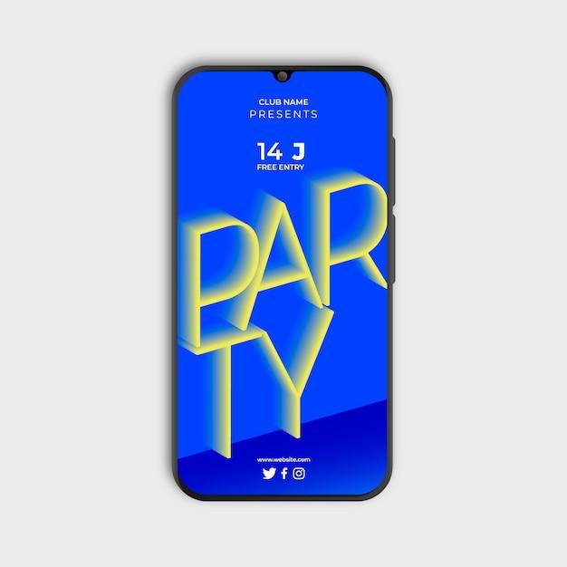 Farbverlaufsplakat für party im smartphone Kostenlosen Vektoren