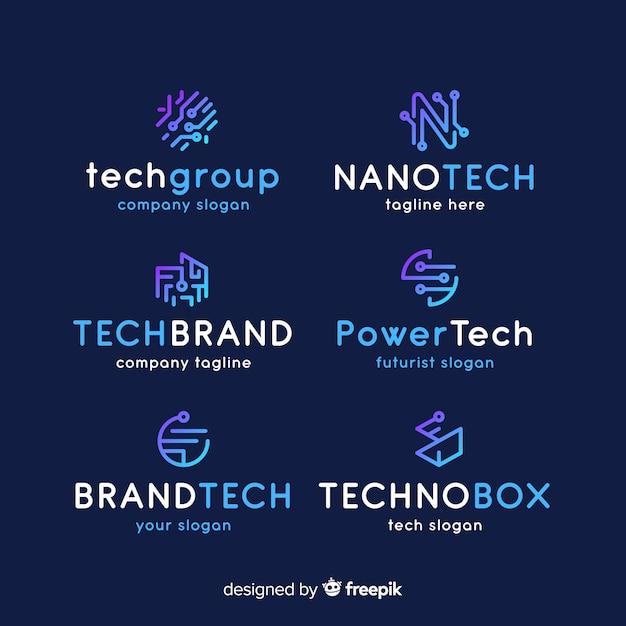 Farbverlaufstechnologie-logo-auflistung Kostenlosen Vektoren