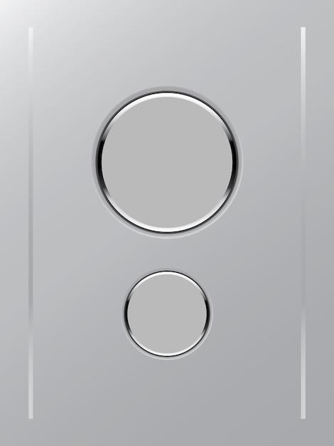 Farbweißknopfsymbol auf grauem hintergrund Premium Vektoren