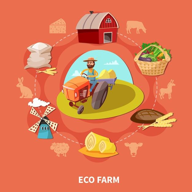 Farm cartoon farbige zusammensetzung Kostenlosen Vektoren