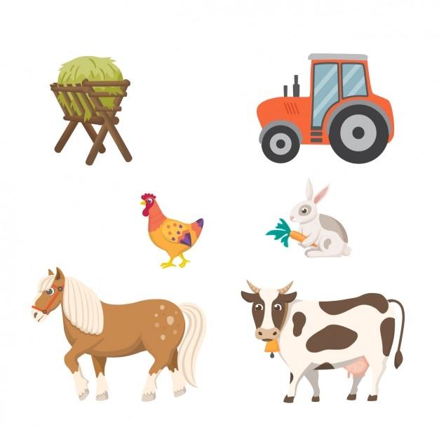Farm-elemente-sammlung Kostenlosen Vektoren