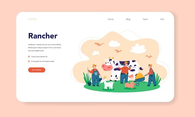 Farm, farmer web banner oder landing page Premium Vektoren