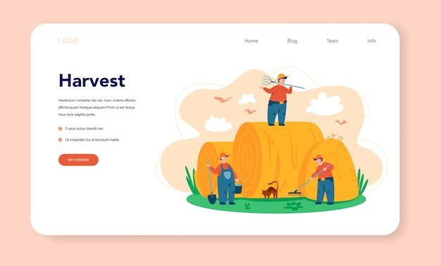 Farm, farmer web landing page. landwirte, die auf dem feld arbeiten, pflanzen gießen und tiere füttern. sommerlandschaftsansicht, landwirtschaft. im dorf leben. isolierte flache illustration Premium Vektoren
