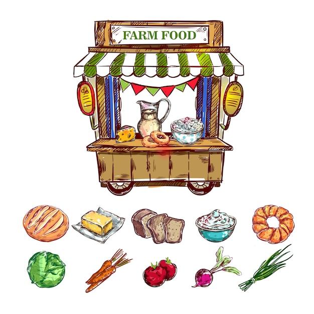 Farm food outdoor shop zusammensetzung Kostenlosen Vektoren