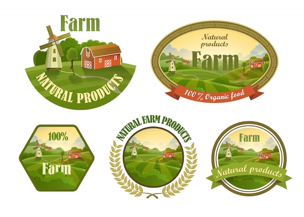 Farm frische embleme gesetzt Premium Vektoren