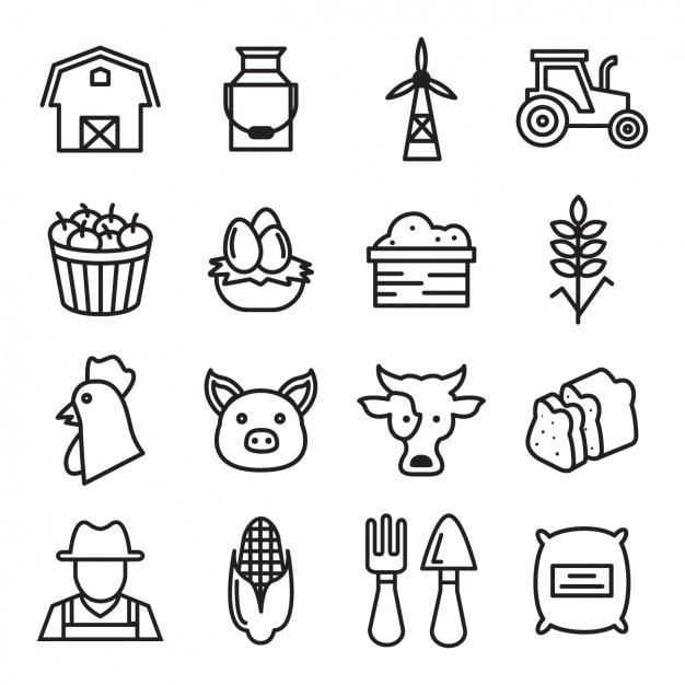Farm-ikonen-sammlung Kostenlosen Vektoren