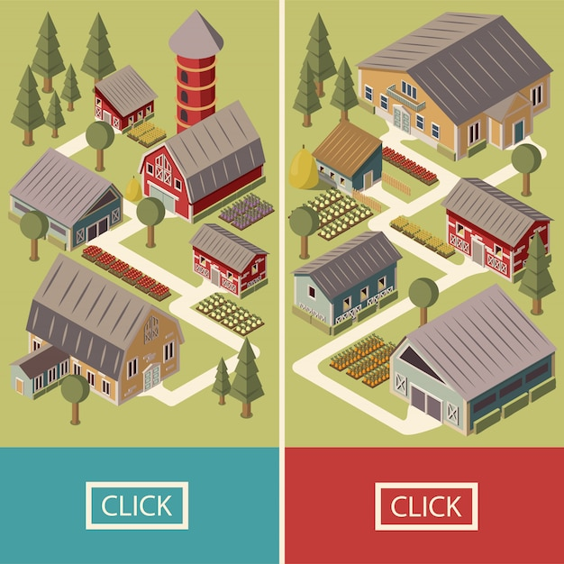 Farm isometric banner Kostenlosen Vektoren